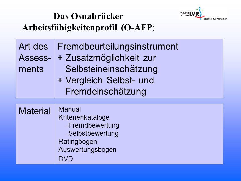 Das Osnabrücker Arbeitsfähigkeitenprofil (O-AFP)