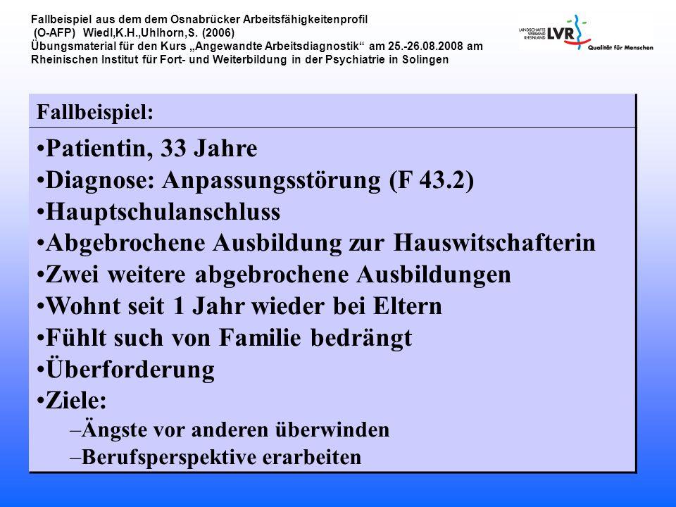 Diagnose: Anpassungsstörung (F 43.2) Hauptschulanschluss