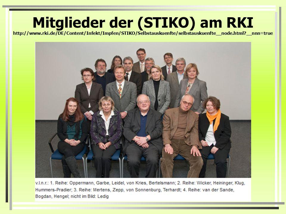 Mitglieder der (STIKO) am RKI http://www. rki