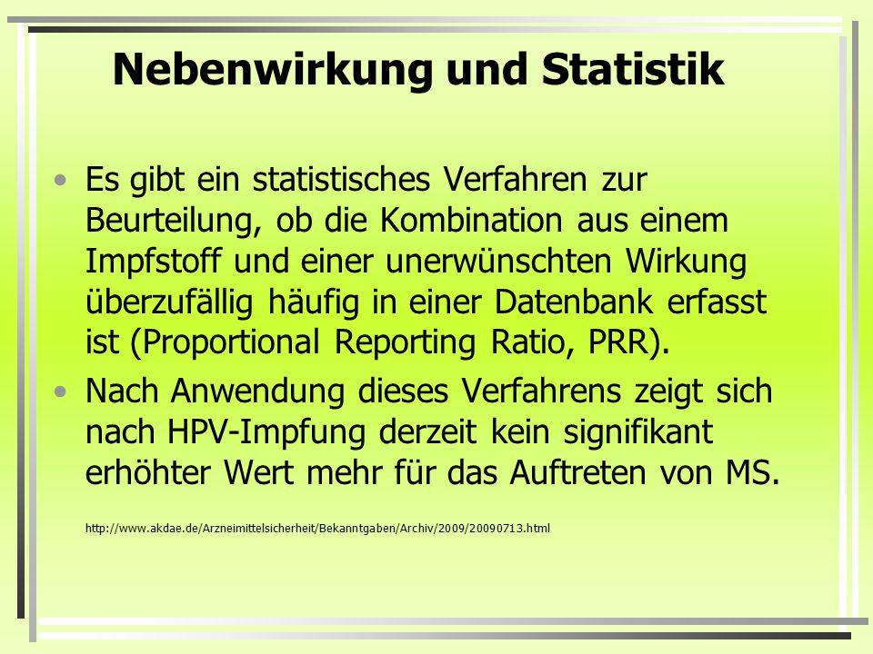 Nebenwirkung und Statistik