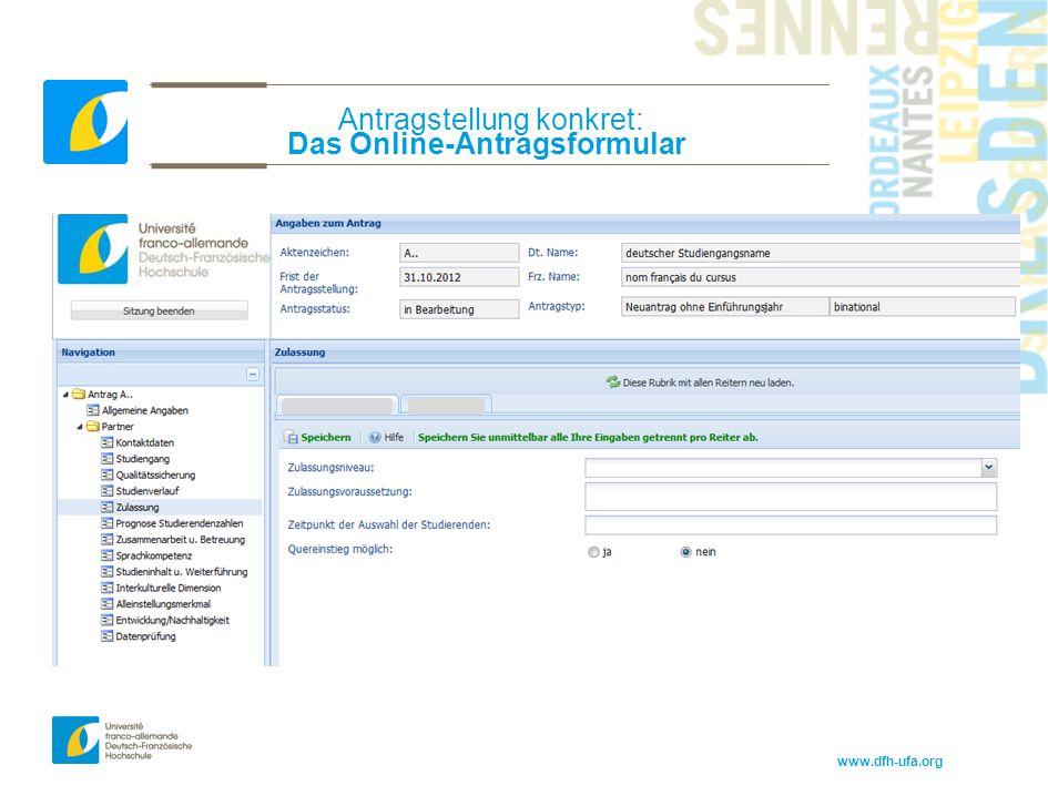 Antragstellung konkret: Das Online-Antragsformular