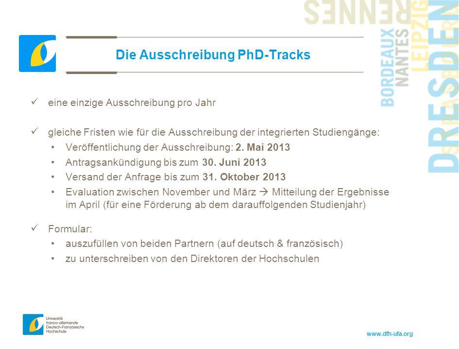 Die Ausschreibung PhD-Tracks