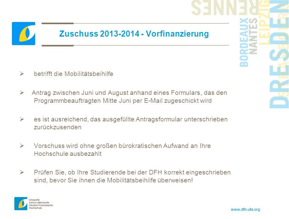 Zuschuss 2013-2014 - Vorfinanzierung