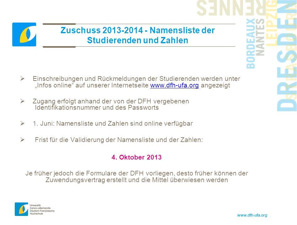 Zuschuss 2013-2014 - Namensliste der Studierenden und Zahlen