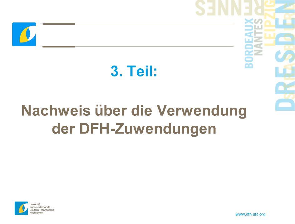 Nachweis über die Verwendung der DFH-Zuwendungen