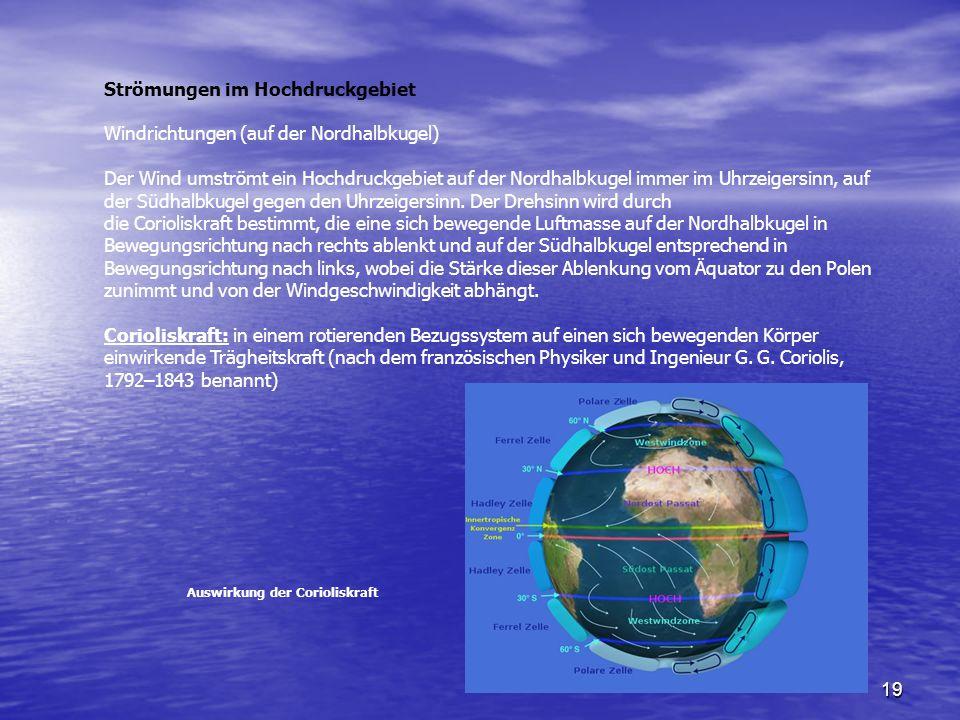 Strömungen im Hochdruckgebiet Windrichtungen (auf der Nordhalbkugel)