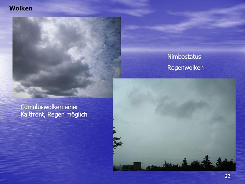 Wolken Nimbostatus Regenwolken Cumuluswolken einer Kaltfront, Regen möglich