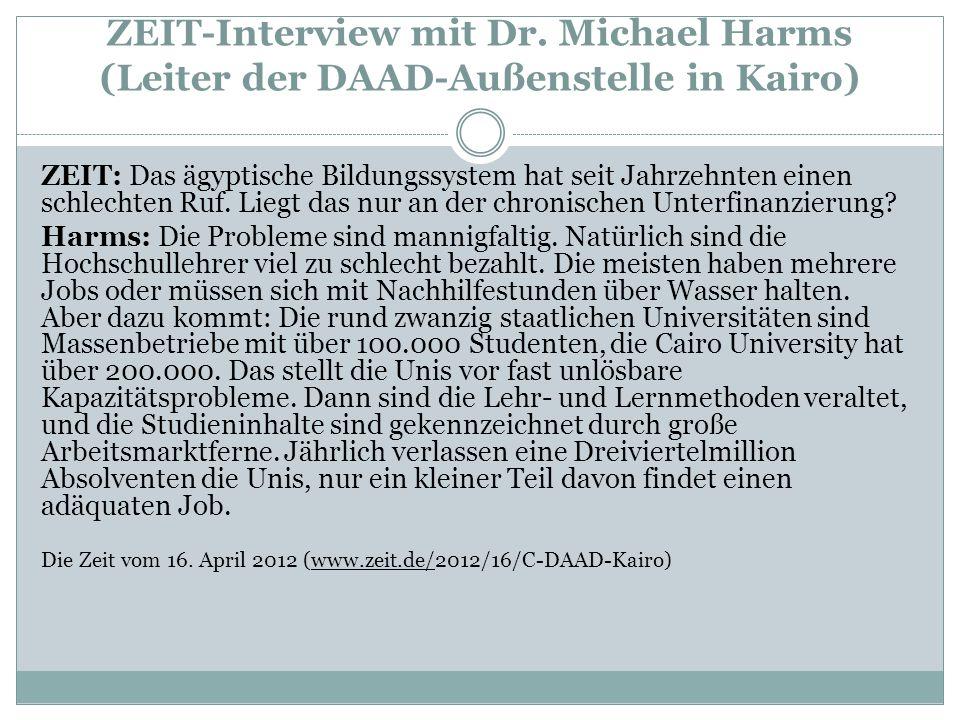 ZEIT-Interview mit Dr. Michael Harms (Leiter der DAAD-Außenstelle in Kairo)