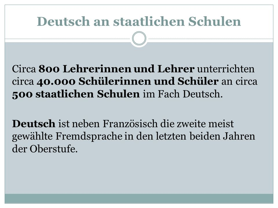 Deutsch an staatlichen Schulen