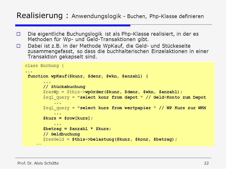 Realisierung : Anwendungslogik - Buchen, Php-Klasse definieren