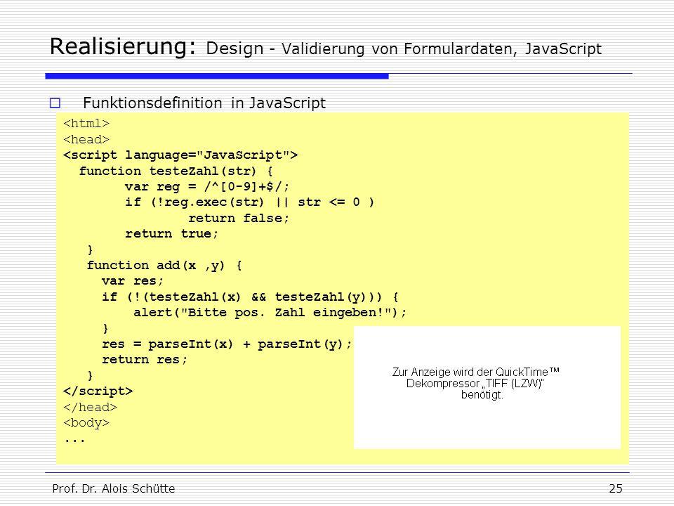 Realisierung: Design - Validierung von Formulardaten, JavaScript