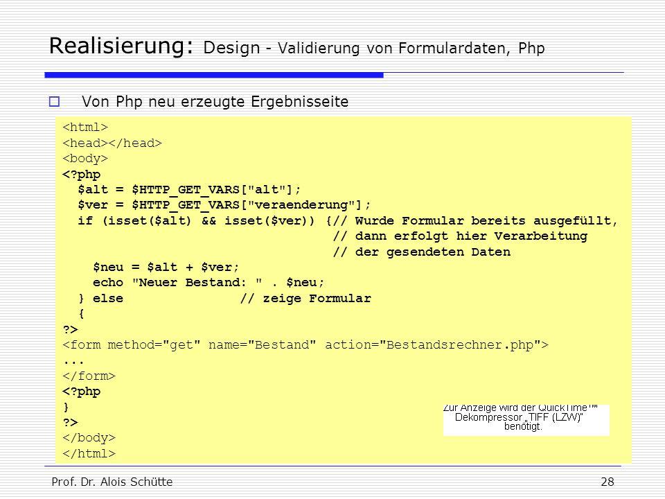 Realisierung: Design - Validierung von Formulardaten, Php