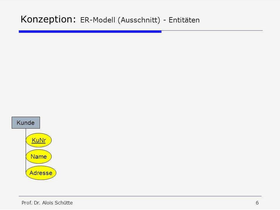 Konzeption: ER-Modell (Ausschnitt) - Entitäten