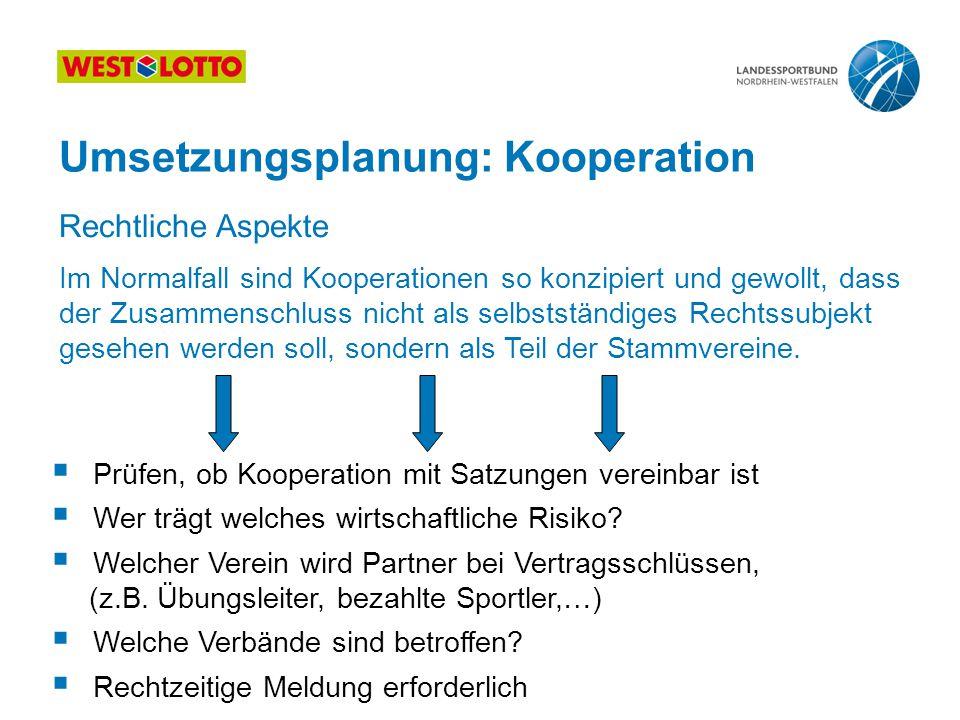 Umsetzungsplanung: Kooperation