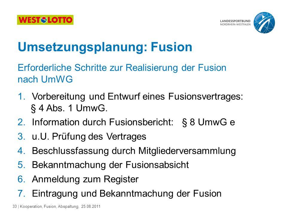 Umsetzungsplanung: Fusion