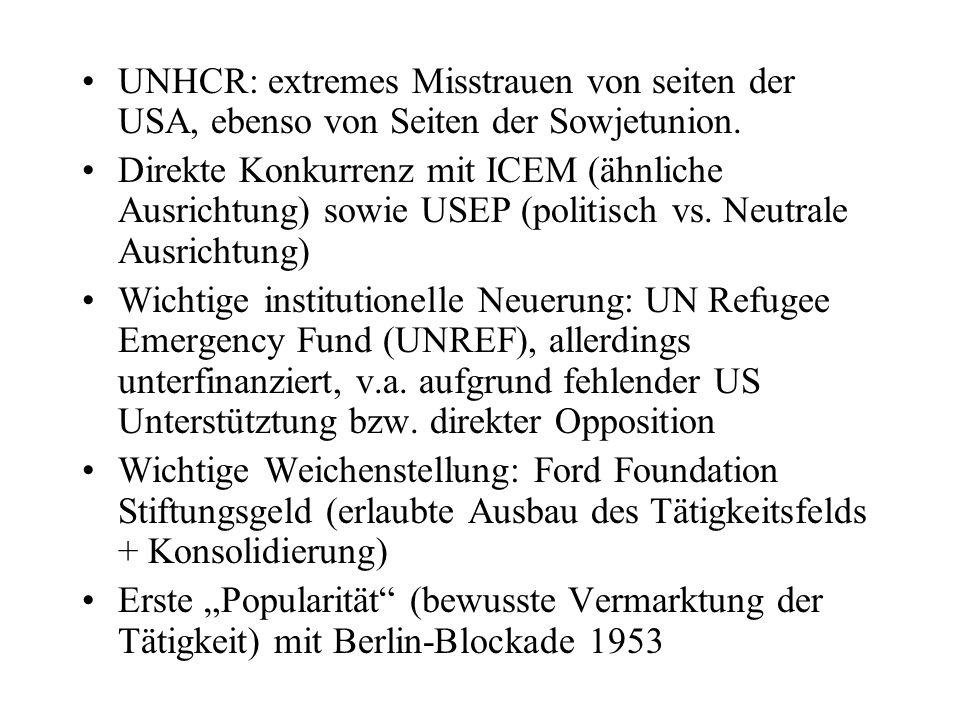 UNHCR: extremes Misstrauen von seiten der USA, ebenso von Seiten der Sowjetunion.