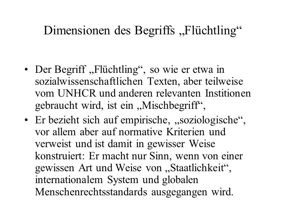 """Dimensionen des Begriffs """"Flüchtling"""