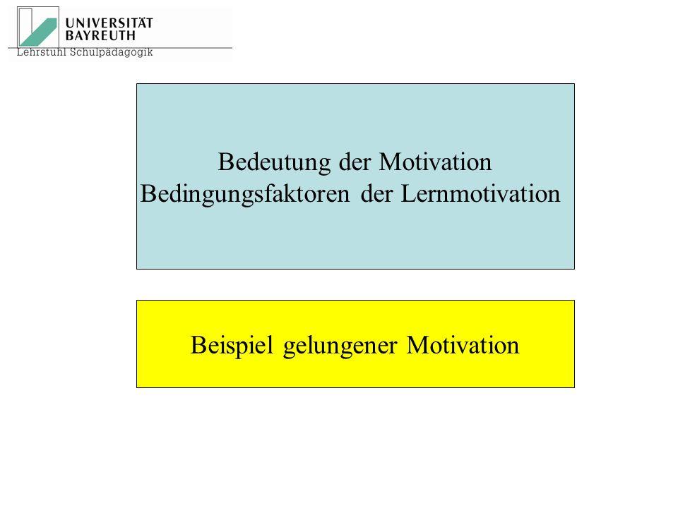 Bedeutung der Motivation Bedingungsfaktoren der Lernmotivation