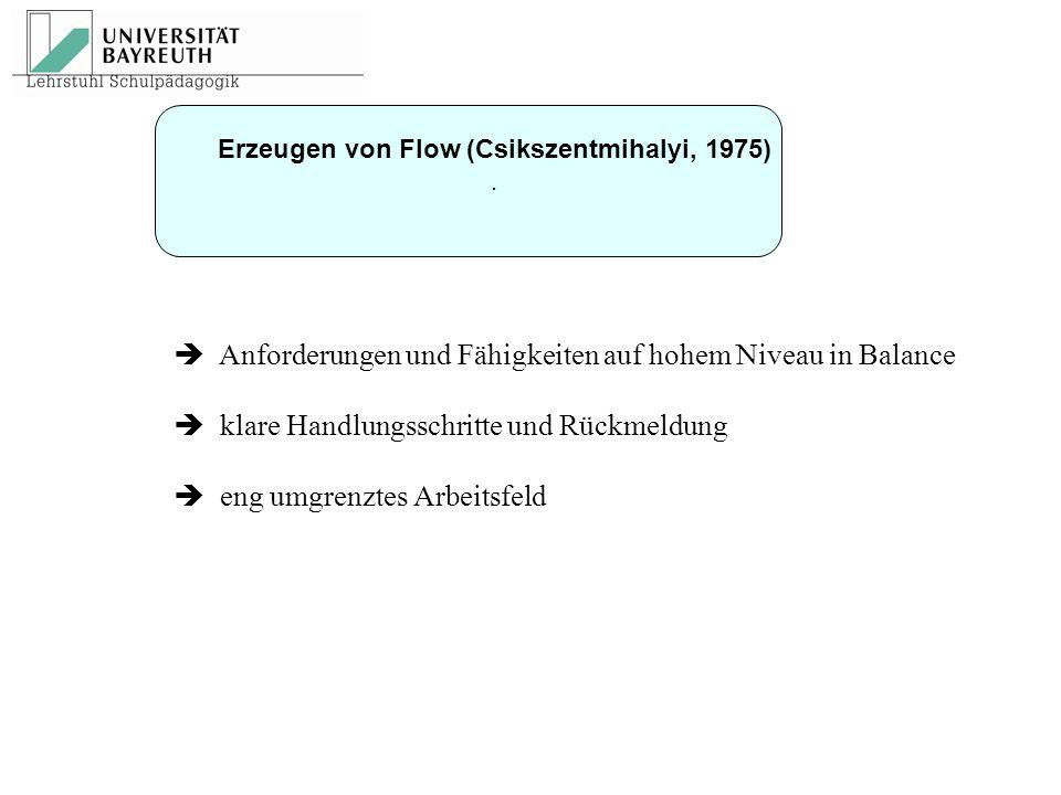 Erzeugen von Flow (Csikszentmihalyi, 1975)