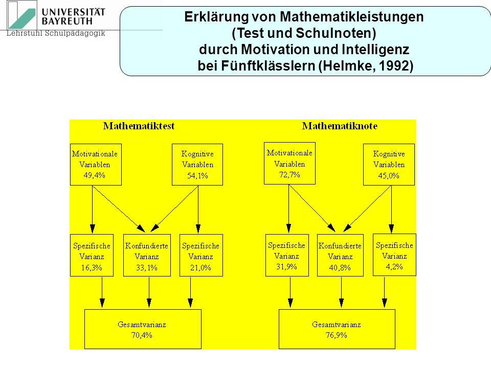 Erklärung von Mathematikleistungen (Test und Schulnoten)