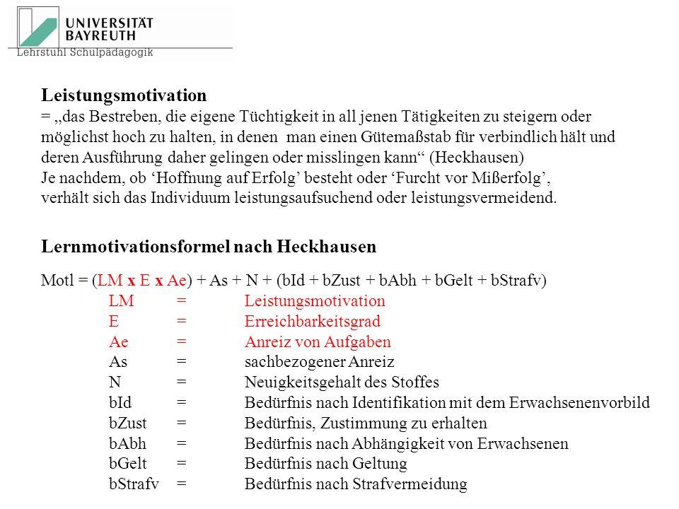 Lernmotivationsformel nach Heckhausen