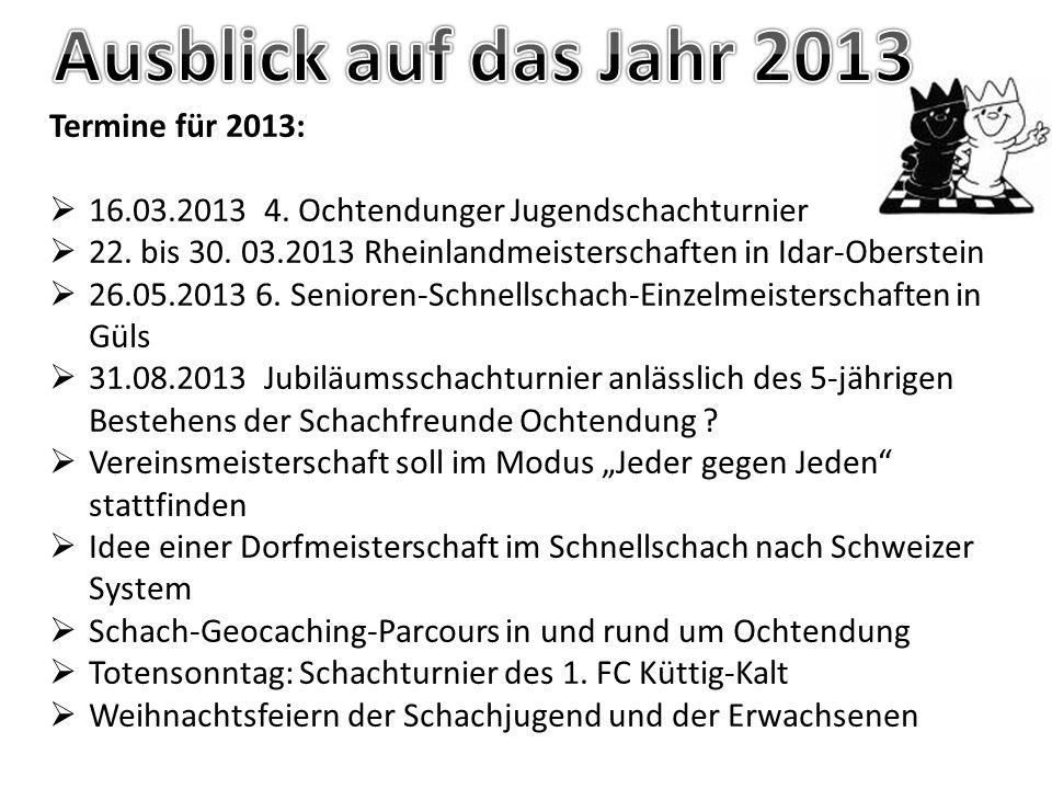 Ausblick auf das Jahr 2013 Termine für 2013: