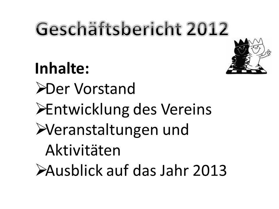 Geschäftsbericht 2012 Inhalte: Der Vorstand Entwicklung des Vereins