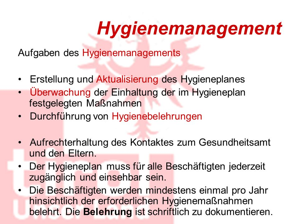 Hygienemanagement Aufgaben des Hygienemanagements