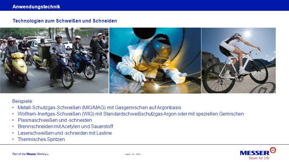 Anwendungstechnik Technologien zum Schweißen und Schneiden. Beispiele: Metall-Schutzgas-Schweißen (MIG/MAG) mit Gasgemischen auf Argonbasis.