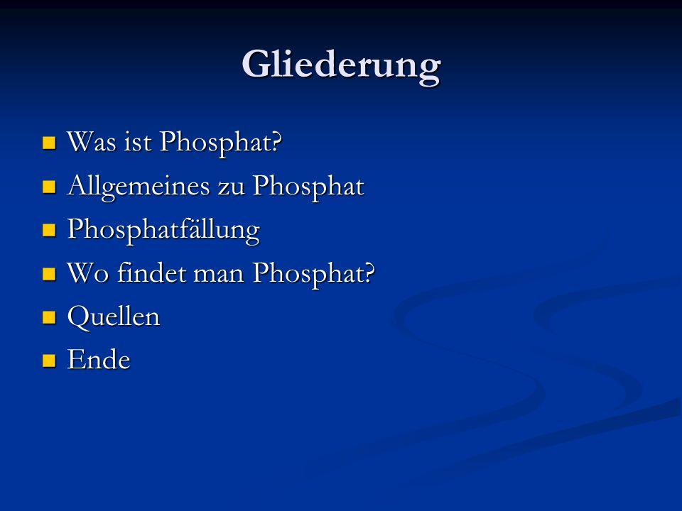 Gliederung Was ist Phosphat Allgemeines zu Phosphat Phosphatfällung