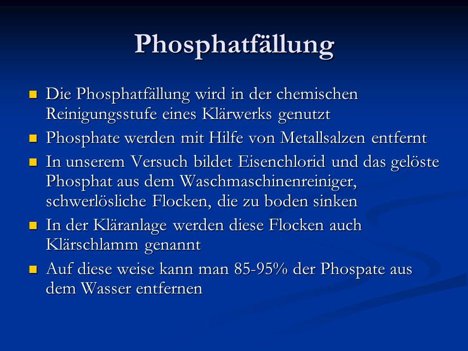Phosphatfällung Die Phosphatfällung wird in der chemischen Reinigungsstufe eines Klärwerks genutzt.