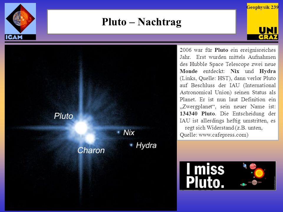 Geophysik 239 Pluto – Nachtrag.