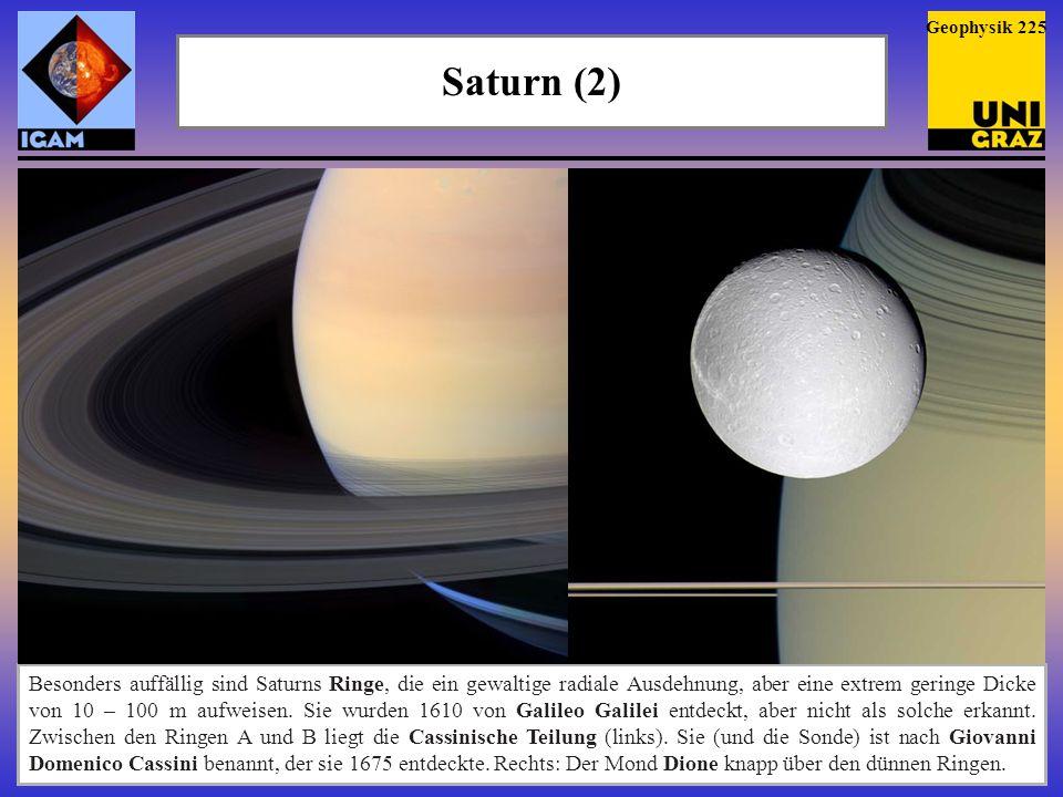"""Geophysik 225 Saturn (2) Die """"Ringnatur der Ringe 1656 vom holländischen Astronomen Christiaan Huygens entdeckt."""