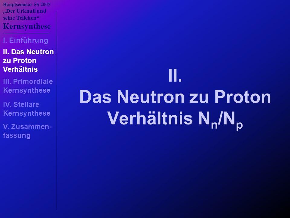 II. Das Neutron zu Proton Verhältnis Nn/Np