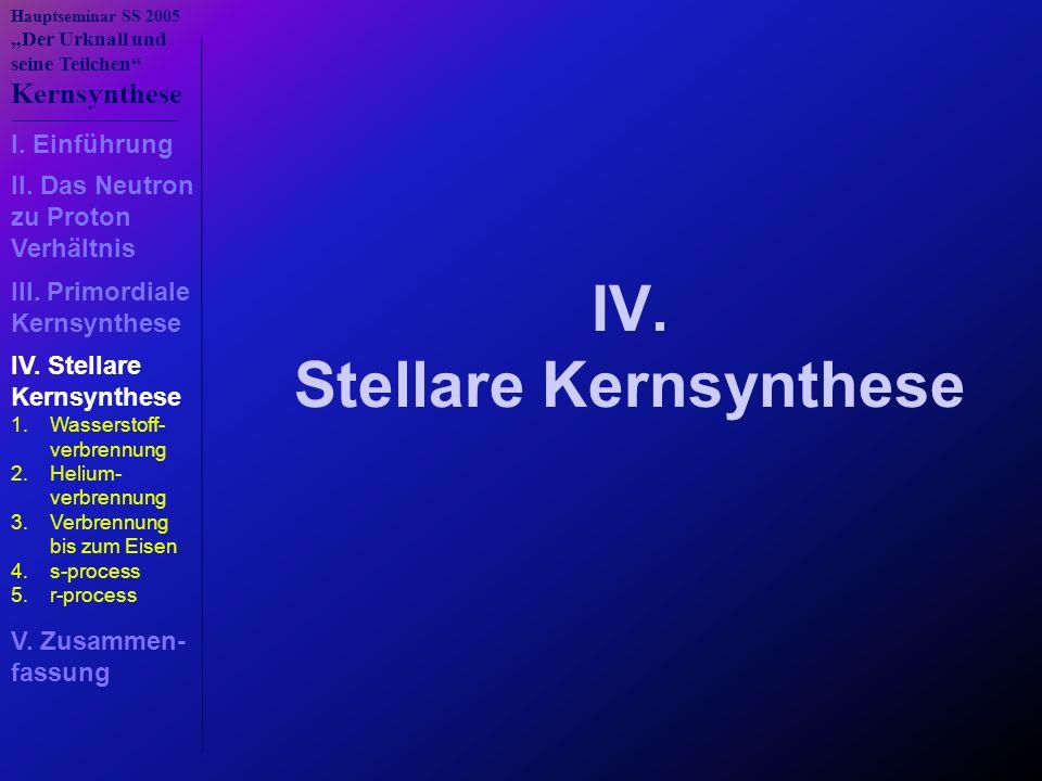 IV. Stellare Kernsynthese