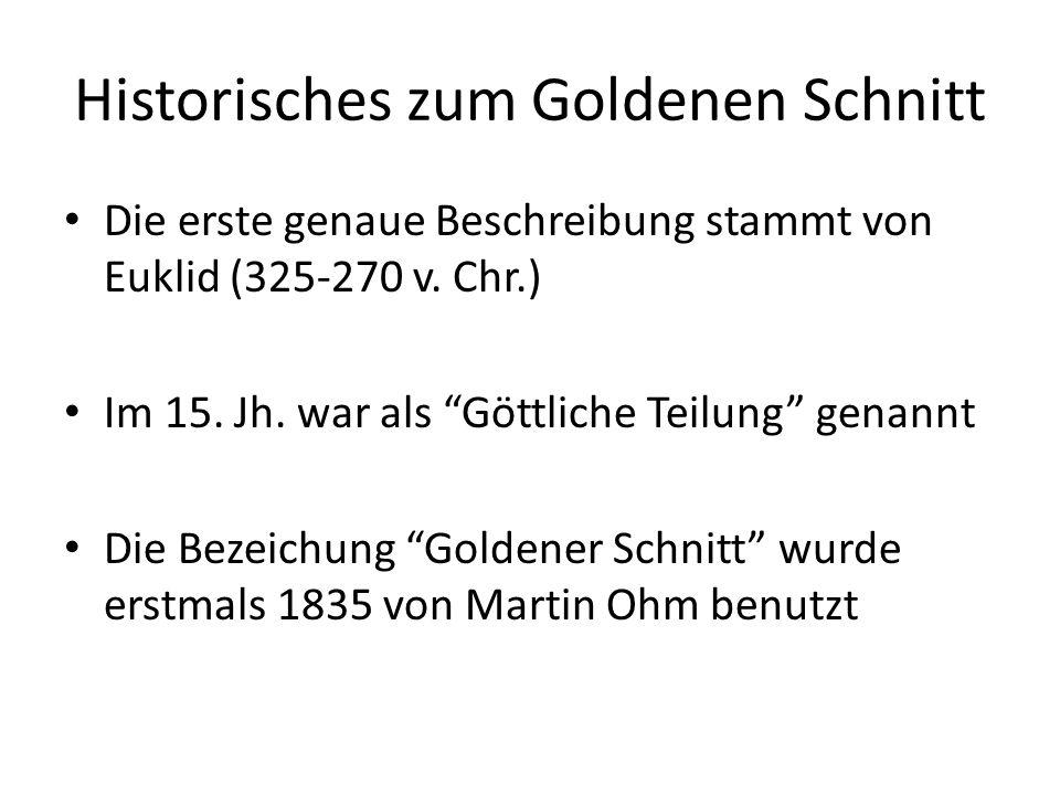 Historisches zum Goldenen Schnitt