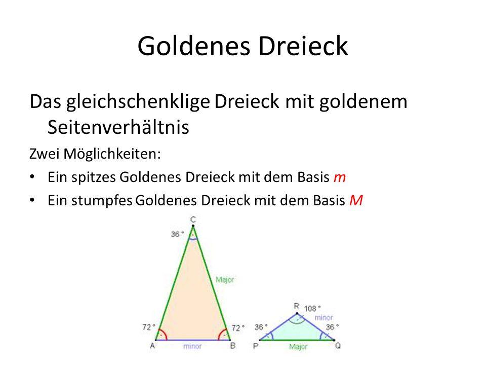 Goldenes Dreieck Das gleichschenklige Dreieck mit goldenem Seitenverhältnis. Zwei Möglichkeiten: Ein spitzes Goldenes Dreieck mit dem Basis m.