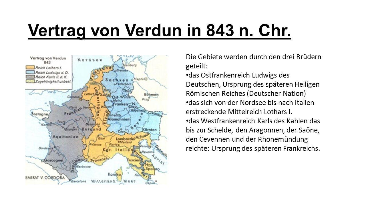 Vertrag von Verdun in 843 n. Chr.