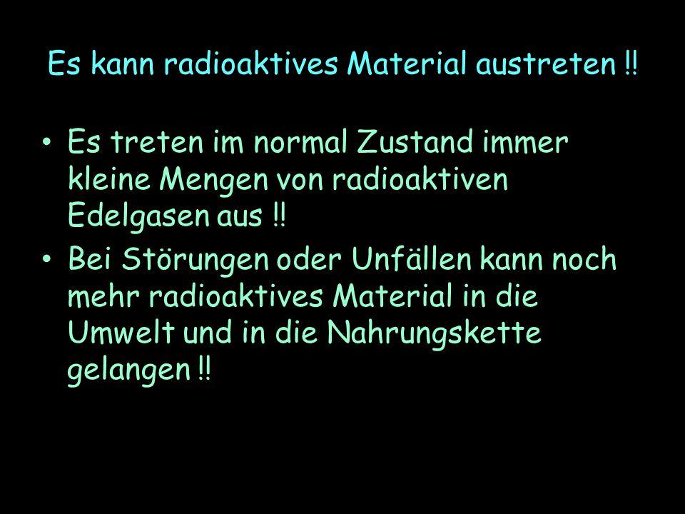 Es kann radioaktives Material austreten !!