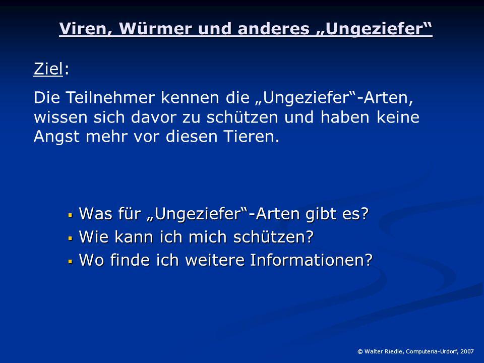 """Viren, Würmer und anderes """"Ungeziefer"""