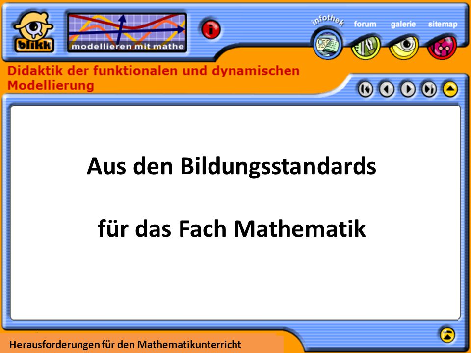 Aus den Bildungsstandards für das Fach Mathematik