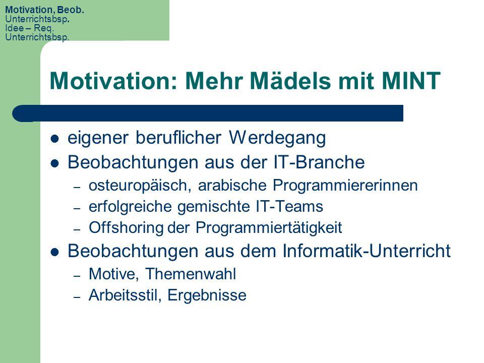 Motivation: Mehr Mädels mit MINT