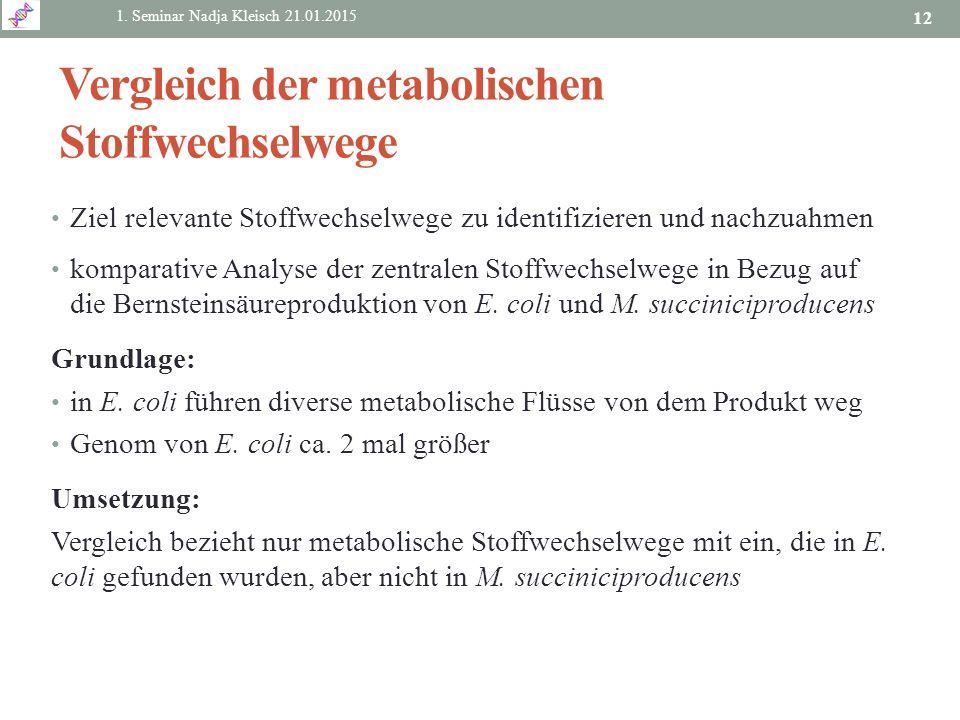 Vergleich der metabolischen Stoffwechselwege