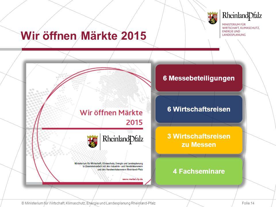 Wir öffnen Märkte 2015 6 Messebeteiligungen 6 Wirtschaftsreisen