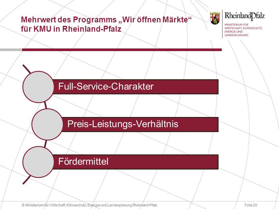 """Mehrwert des Programms """"Wir öffnen Märkte für KMU in Rheinland-Pfalz"""