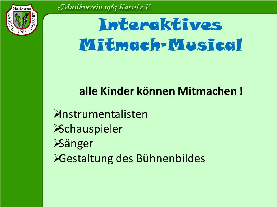 Interaktives Mitmach-Musical