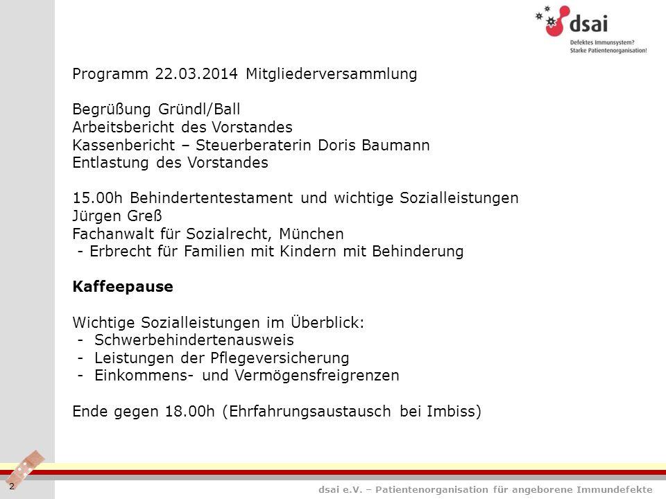 Programm 22.03.2014 Mitgliederversammlung Begrüßung Gründl/Ball