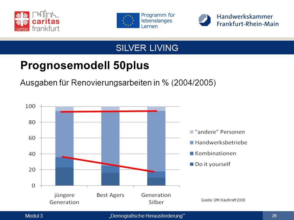 Prognosemodell 50plus Ausgaben für Renovierungsarbeiten in % (2004/2005)