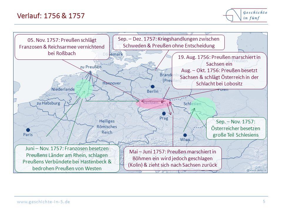 Verlauf: 1756 & 1757 Wien. Paris. Dänemark. Frankreich. zu Habsburg. Schweden. Niederlande. Preußen.