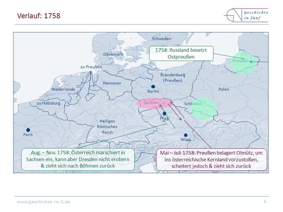 Verlauf: 1758 1758: Russland besetzt Ostpreußen